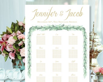 Elegant Printable Wedding Seating Chart with Watercolor Greenery, Custom Font Color and Sizes Available