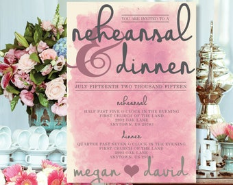 """Romantic and Rustic Watercolor """"Lace Pattern"""" Rehearsal Dinner Invitation Printable"""