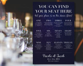 """Starry Sky """"Your Place is on the Dance Floor"""" Seating Chart"""