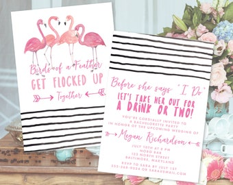 "Pink Flamingo ""Get Flocked Up"" Together Bachelorette Party Invitation (includes White Envelope)"