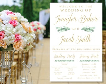 Elegant Wedding Welcome and Information Sign Printable with Greenery, Custom Font Color and Size Available