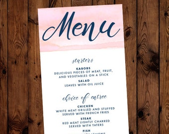 Watercolor Swash Stripe Wedding or Rehearsal Dinner Menu Printable Custom Colors Available