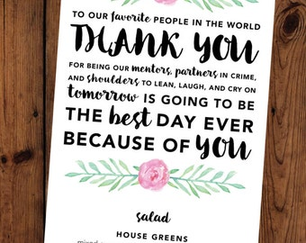 Floral Watercolor Thank You Rehearsal Dinner Menu Customizable Printable