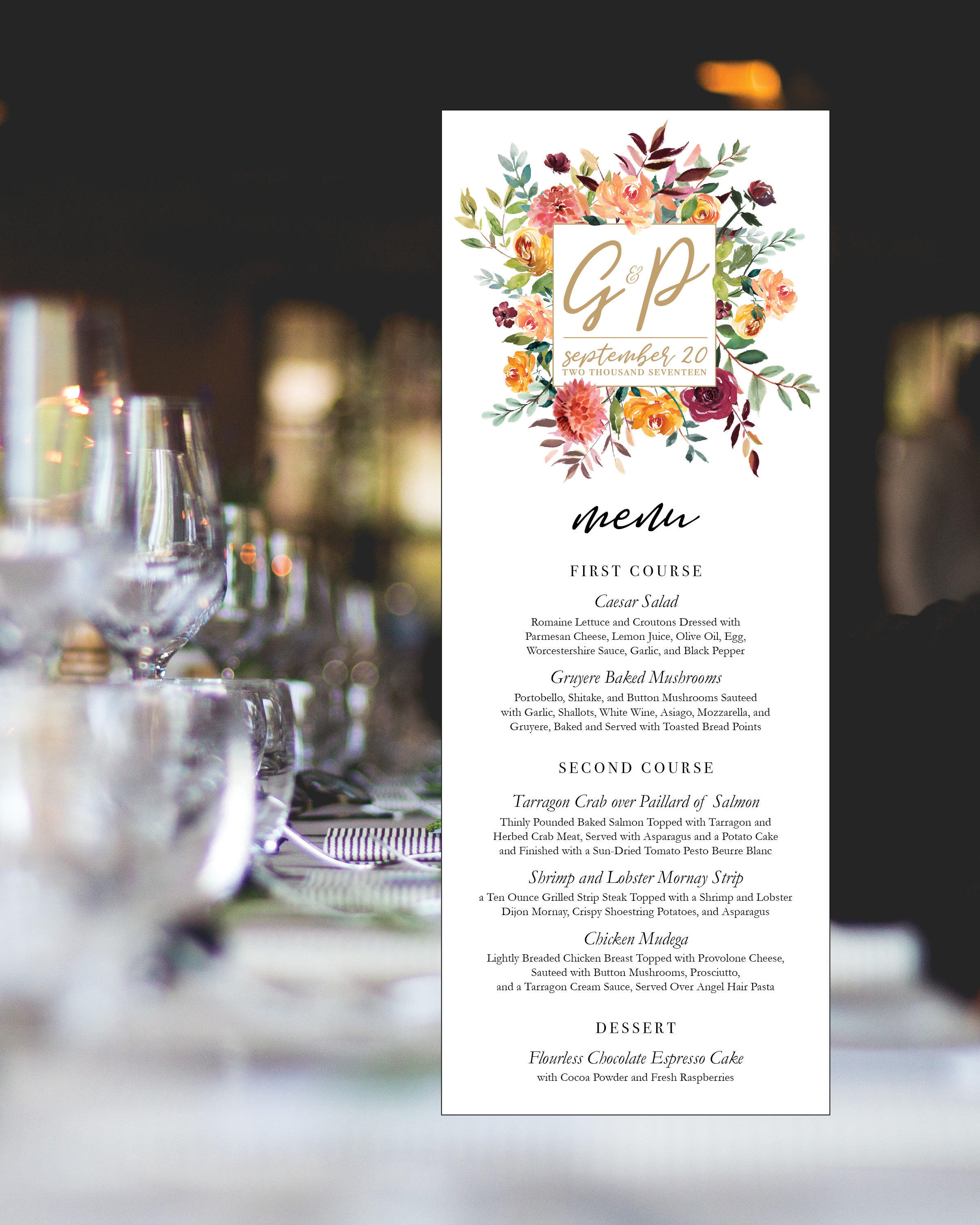 Floral Monogram Wedding Or Rehearsal Dinner Menu Printable