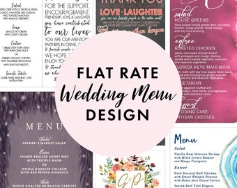Flat Rate Wedding Menu Design