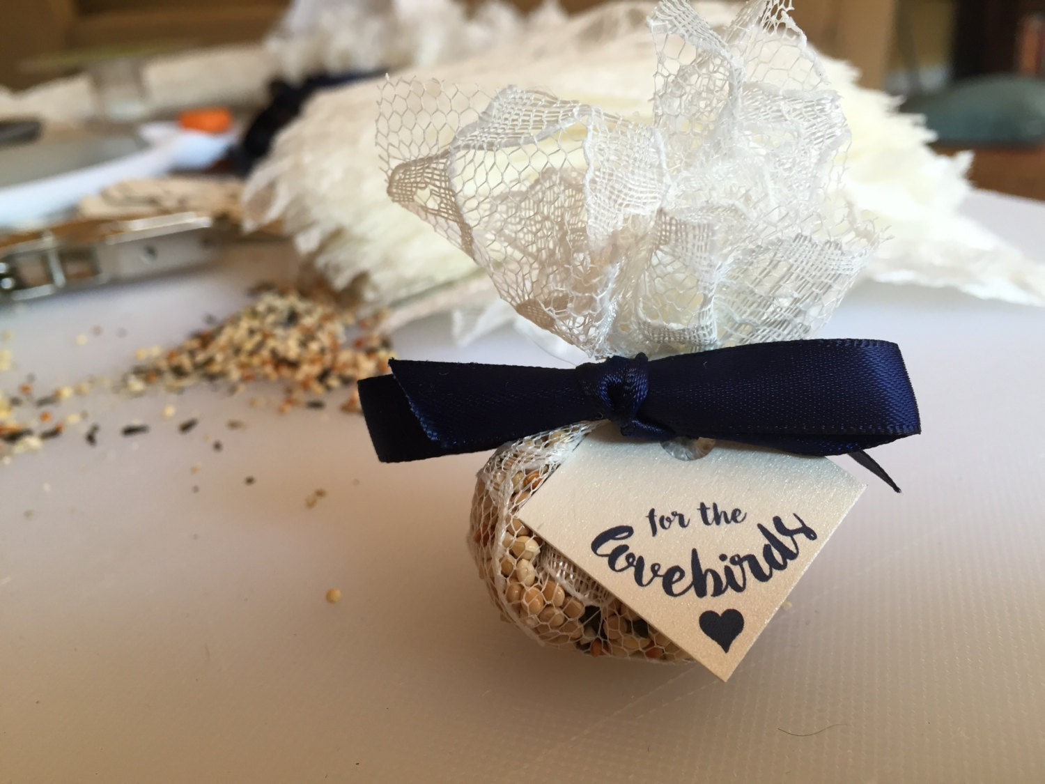Hand Made Wedding Favor Lace Bird Seed Bags With Customizable Favor