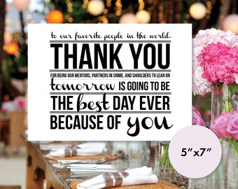 Rehearsal Dinner Thank You Place Card 5x7 Printable (Instant Download)