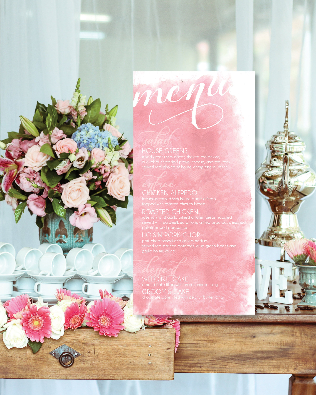Watercolor Lace Pattern Wedding, Rehearsal, or Bridal Shower Menu ...