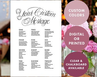 24x36 Basic Custom Color Calligraphy Wedding Seating Chart (Available in PDF or printed on Clear Acrylic, Chalkboard, Poster, or Foamboard)