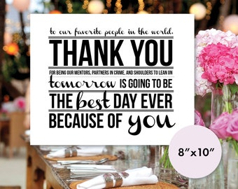 Rehearsal Dinner Thank You Place Card 8x10 Printable (Instant Download)