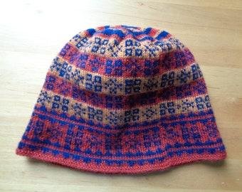 c8dd06b6b ... best price scandinavian vintage knitted beanie knitted hat dark red  navy blue beige patterned hat adult