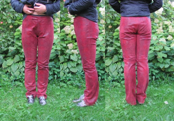 Vintage Leather Pants; Dark Red & Gray Leather Pan