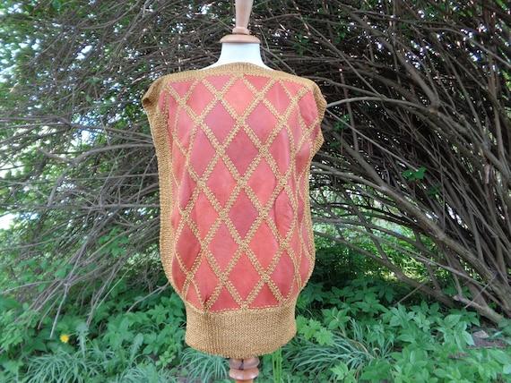 Vintage Vest / Sleeveless Sweater; Genuine Leathe… - image 2