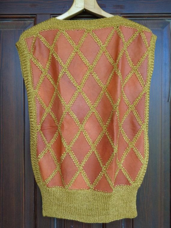 Vintage Vest / Sleeveless Sweater; Genuine Leathe… - image 4