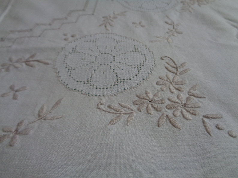 Antique Hand Embroidered Tablecloth 40x 40 Ivory Plain Cotton Tablecloth with Whitework Embroidery; Square Tablecloth Vintage Table Linens