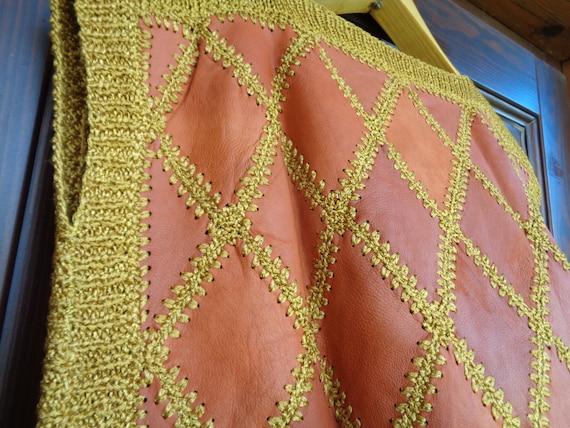 Vintage Vest / Sleeveless Sweater; Genuine Leathe… - image 8
