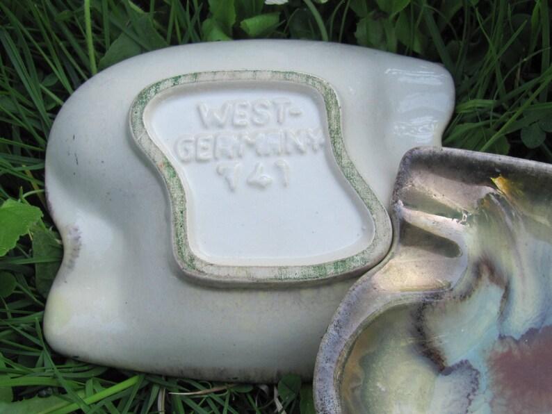 Pair of Retro Ashtrays; 50s Vintage West German Pottery Ashtray 741; Mid Century Pottery; Earth Color Drip Glaze Ashtrays Vintage Home Decor