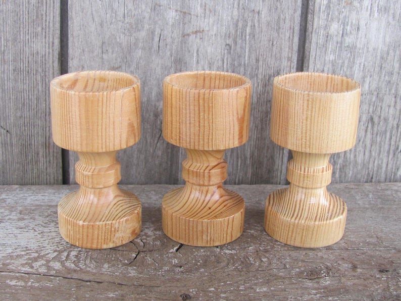 Set Of 3 Vintage Wooden Cups Egg Cups Small Wooden Cups Turned Wood Cups Decorative Natural Wood Cups Small Cups Easter Decor