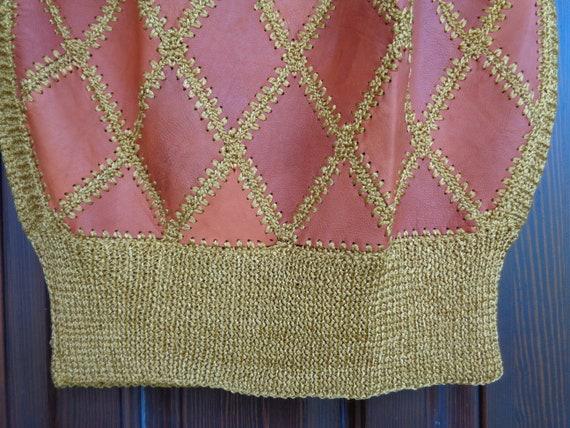 Vintage Vest / Sleeveless Sweater; Genuine Leathe… - image 6