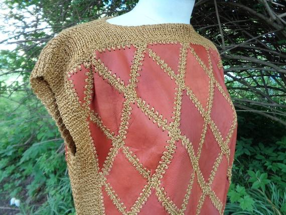 Vintage Vest / Sleeveless Sweater; Genuine Leathe… - image 3