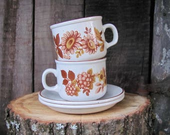 Stonedale Tableware By Sampson Bridgwood made in England; Vintage Coffee Cup & Saucer; Speckled off White Coffee set with Brown Floral Motif
