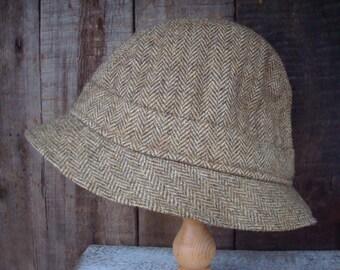 Vintage Men's Hat; Tweed Hat; Pure Wool Totes Hat; Christy London Gillie Herringbone Wool Hat Size 57 / 7 Made in England; Vintage Men's Hat
