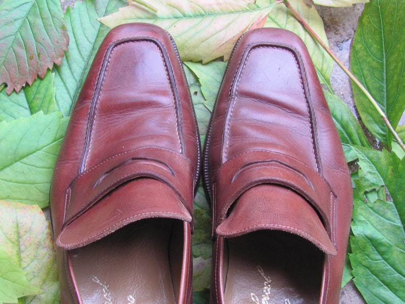 Vintage Leather Shoes; Calzoleria Hercol Italian Shoes; Cinnamon Brown Loafers size 42  US 8.5 Brown Real Leather Retro Shoes made in Italy