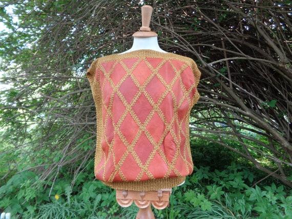 Vintage Vest / Sleeveless Sweater; Genuine Leathe… - image 1