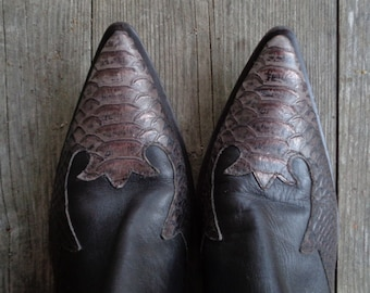 Vintage Real Leather Boots Made in Italy; George Collection Boots Size US 9 / UK 6.5 / Eur 40; Brown Booties with Sharp Long Toe
