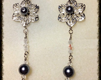 MWL long dangle flower pearl earrings