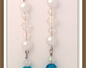 Handmade MWL long dangle blue, silver, clear and pearl earrings. 0056