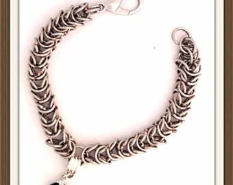 Bracelet Handmade MWL chainmail bracelet wirh deep green ball faceted bead. His or her bracelet. 0178