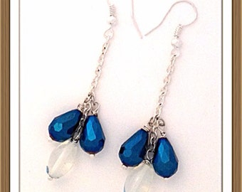 Handmade MWL long dangle blue faceted and clear oval beaded earrings.  0055