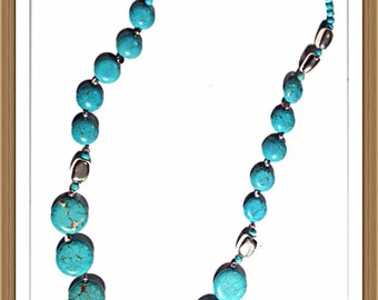 Handmade MWL turquoise and silver necklace. 0152
