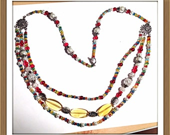 Handmade MWL multi color beaded necklace. 0143