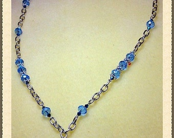 MWL handmade crystal blue Star of David necklace