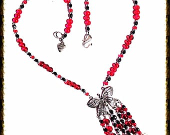 Handmade MWL black, red, silver and pearl butterfly necklace. 0130