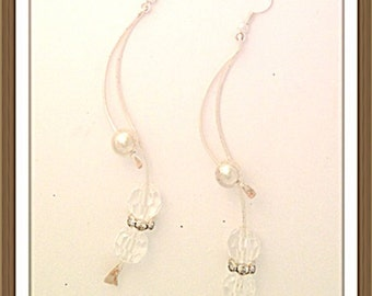 Handmade MWL firged wire earrings with crystal beads. 0094