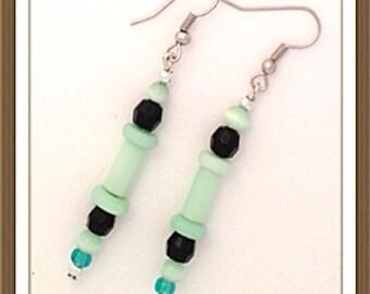 Handmade MWL black and green dangle earrings. 0085