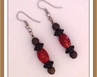 Handmade MWL red and brown dangle earrings. 0138