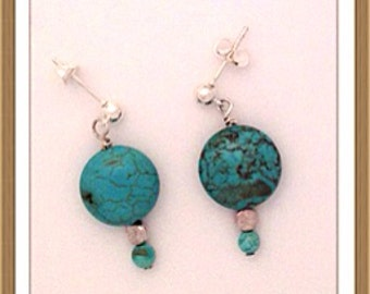 Handmade MWL turquoise and silver pierced earrings 0152