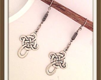 Handmade MWL celtic cross earrings 329