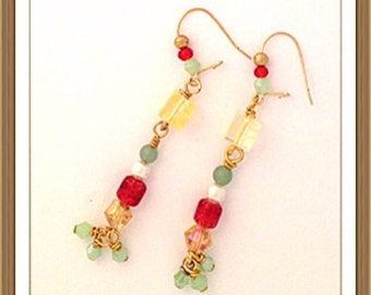 Handmade MWL multi color dangle earrings. 0092