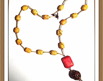 Handmade MWL orange, brown, yellow beaded necklace. 0112