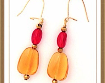 Handmade MWL red and yellow earrings. 0086