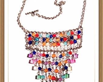 Handmade MWL multi color square and bicone beaded necklace. 0050