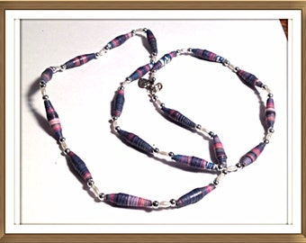 Handmade MWL paper and beaded necklace. 0251