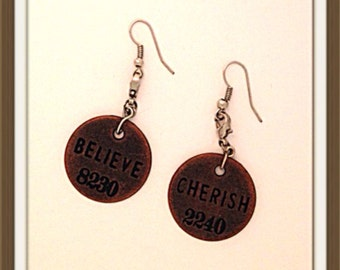 Handmade MWL stamped medillion earrings. 0128