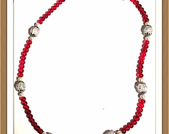 Handmade MWL red beaded necklace with clear crackle beads and pearls. 0060