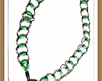 Handmade MWL black, green and silver necklace. 0150
